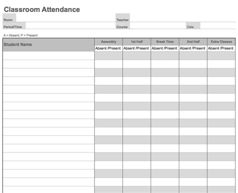 weekly attendance sheet template daily classroom attendance sheet template printable