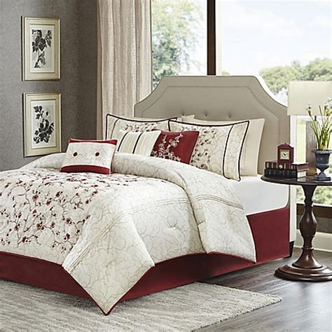 madison park blossom 7 piece comforter set in red white