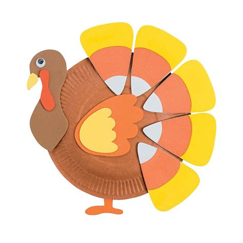 Pilgrim Paper Plate Craft - paper plate corn turkey craft kit orientaltrading