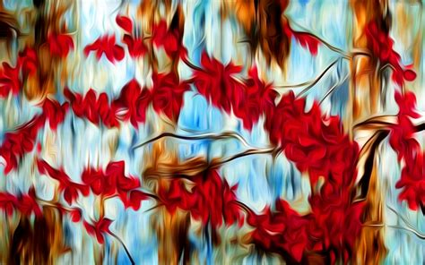 Red And Blue Bedroom Ideas abstract tree painting home decor loversiq