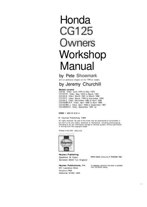 small engine service manuals 2009 honda element user handbook honda cg125 76 91 service manual