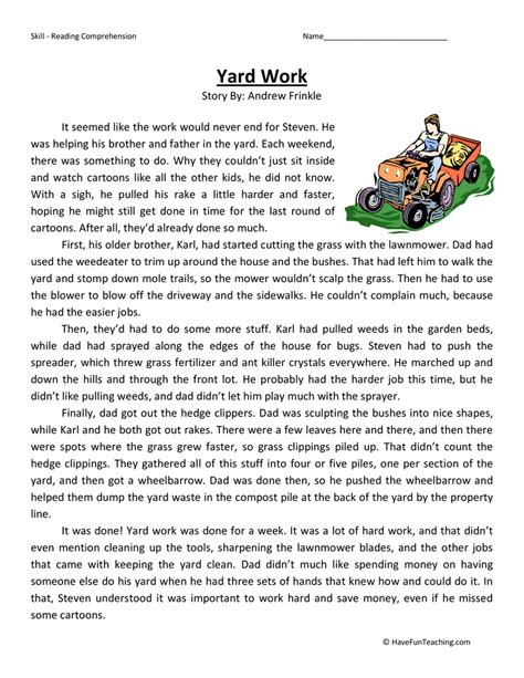 Reading Worksheets 5th Grade by Yard Work Reading Comprehension Worksheet