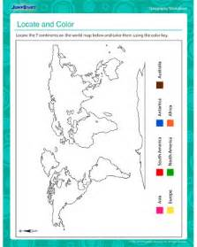 locate and color printable geography worksheet for third