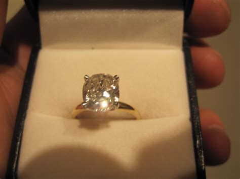 3ct cushion solitaire 14k gold engagement ring