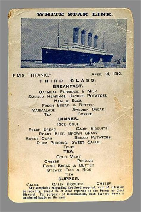 titanic menu first class second class auction of last
