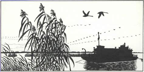 boat drawing ink pen and ink drawing of survey boat working in marsh photo