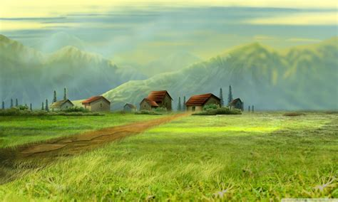 desktop wallpaper hd 1280 x 768 small village drawing hd desktop background hd background