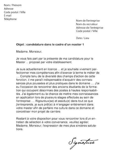 Lettre De Motivation Anglais Master Lettre De Motivation Master 1 Mod 232 Le De Lettre