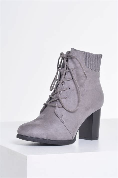 sole city pauline lace up ankle boots in grey suede