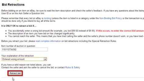 ebay withdraw bid how to unbid on ebay howtech