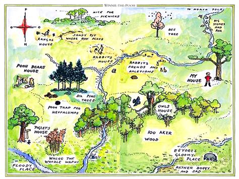 map of 100 acre woodclassic winnie the pooh