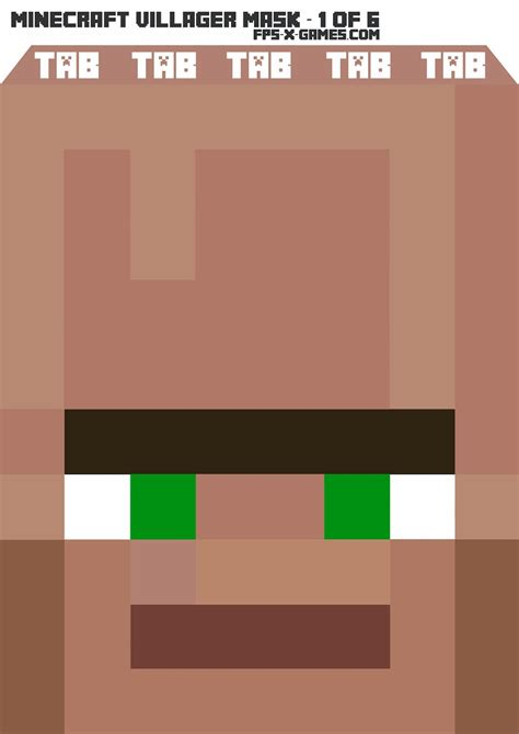 printable minecraft villager mask 1 of 6