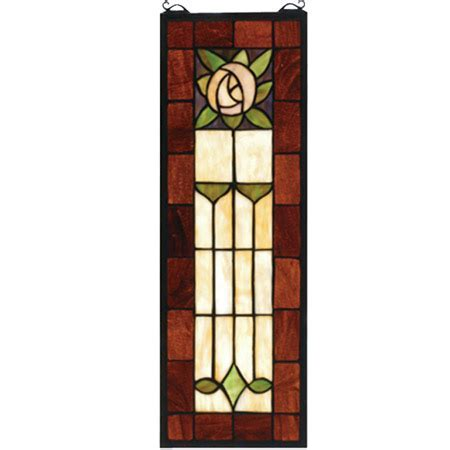 Meyda 67791 Pasadena Rose Stained Glass Window