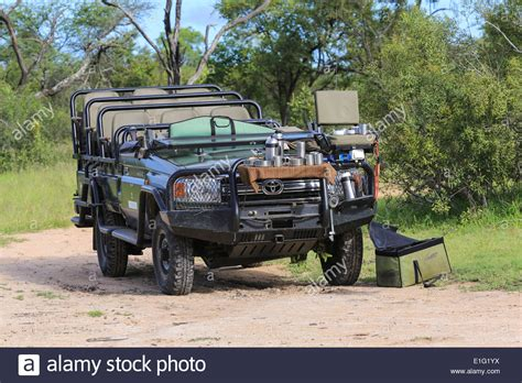 safari land cruiser toyota land cruiser safari vehicle parked for a tea break