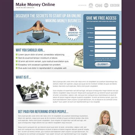 design online and earn money money online landing page design templates to earn money