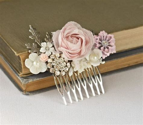 shabby chic rose hair piece silver vintage bridal hair