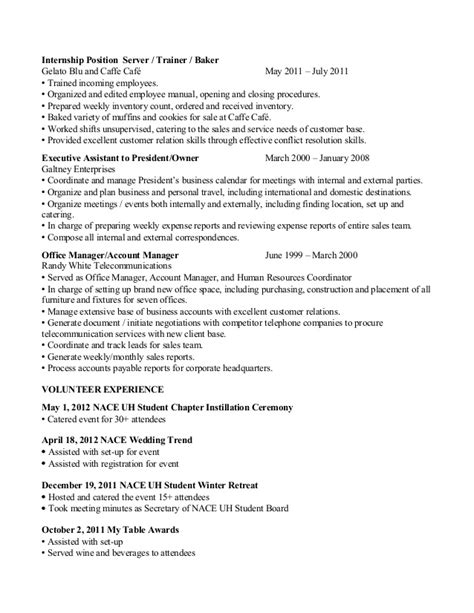 sle cv for waiter cocktail waitress resume exle quotes 28 images sle
