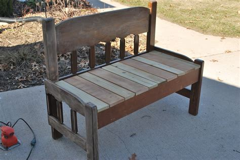 make bench out of headboard sparta savings recycled headboard bench