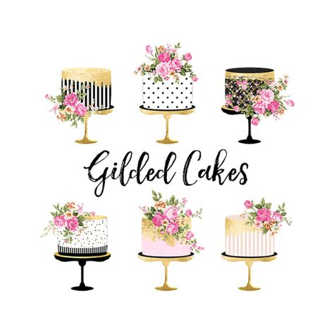 torta clipart cake clipart gold foil cake clipart shabby chic clipart