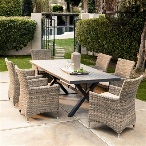 all weather wicker patio dining sets belham living all weather wicker 7 patio