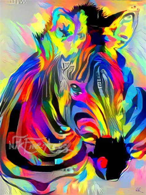 colorful zebra colorful zebra nik arts original paintings and