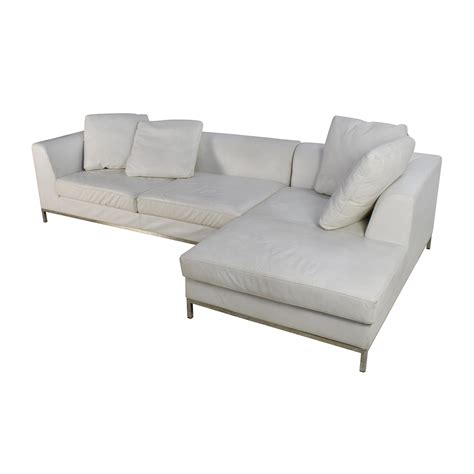 white sectional couch 82 off white leather sectional couch sofas