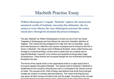 Essay Themes In Macbeth | macbeth essay the theme of the natural world vs the