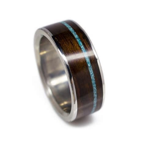 s wood wedding band in titanium ironwood turquoise