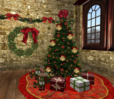 christmas decorations on sims 3 second marketplace velvet decor pack tree tree skirt and wreath w