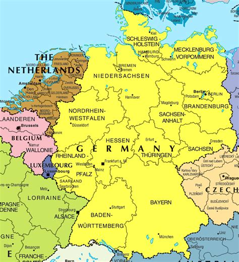 large map of large political and administrative map of germany and