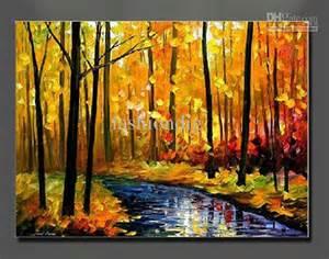 Landscape Pictures On Canvas Painting Canvas Autumn Landscape Scenery River Yellow