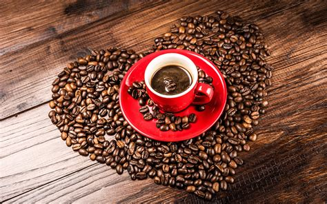coffee wallpaper red coffee beans grains heart shaped red cup wallpaper