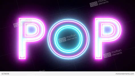 pop signs pop neon sign lights logo text glowing multicolor stock