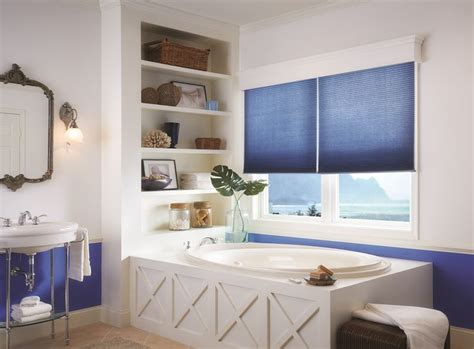 Bathroom Blinds Designer The Use Of The Honeycomb Blinds To Pull In The Blue