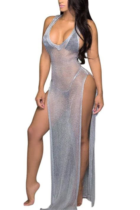 Open Slit Dress silver low v neckline sleeveless see through design both