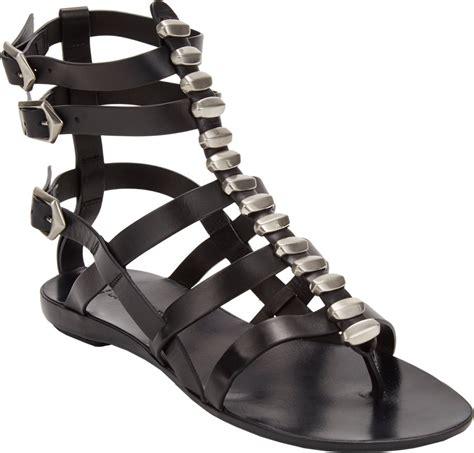 Vnc Studded Flat Sandals sartore studded flat gladiator sandals in black lyst