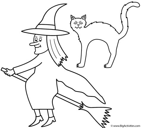 coloring pages of a black cat for halloween witch on broom with black cat coloring page halloween
