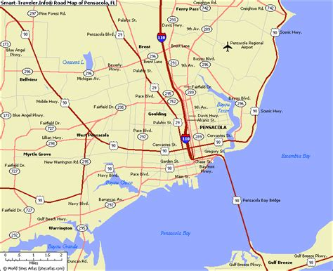 pensacola map map of pensacola fl my