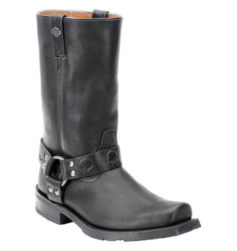 skull boots mens skull embossed leather boots
