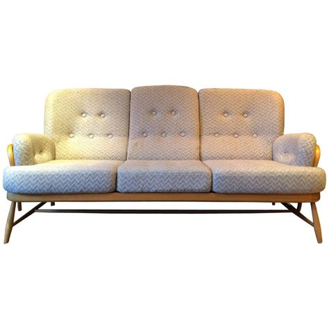 Ercol Settee ercol sofa three seat settee light elm vintage retro at 1stdibs
