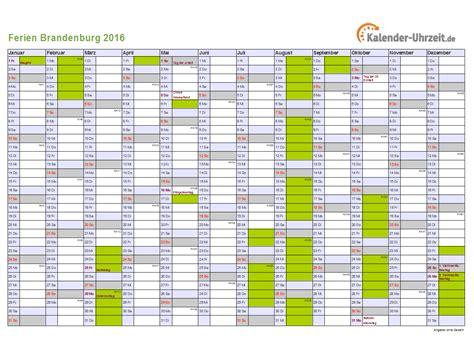 Kalender 2016 Quer Ferien Brandenburg 2016 Ferienkalender Zum Ausdrucken