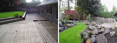 sloped backyard before and after below ground patio images