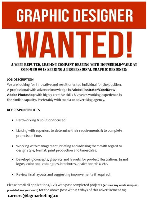 jobs of graphic design job advertisement graphic designer www pixshark com