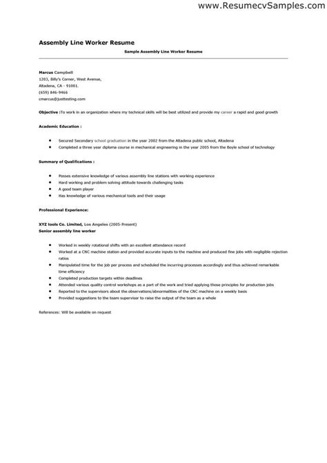 Assembly Line Operator Resume Sle by Assembler Resume Sle Best Professional Resumes