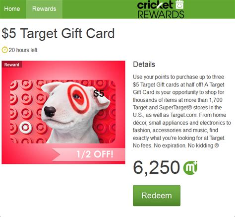 Gift Cards Half Off - target 5 gift cards half off today with cricket rewards 6 250 points each