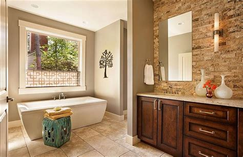 relaxing transitional bathroom by garrison hullinger