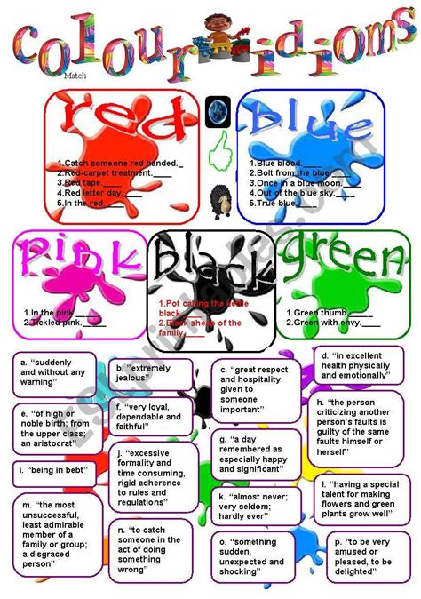 color idioms colour idioms esl worksheet by liliaamalia