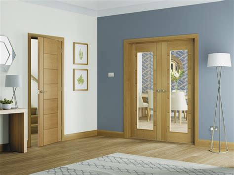Oak Doors With Glass Palermo Oak Rebated Door Pair With Clear Glass