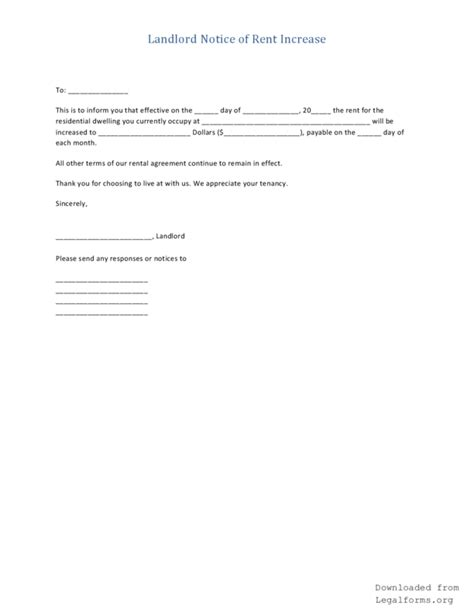 Rent Notice Letter To Landlord Landlord S Notice To Increase Rent Pdf Rtf Word Legalforms Org