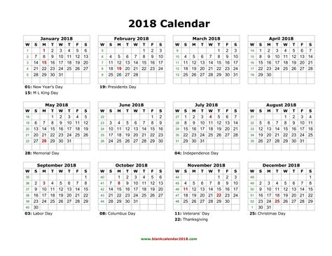 Free Printable 2018 Calendar With Holidays Blank Calendar 2018